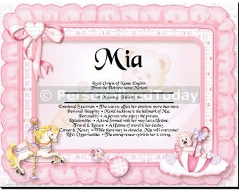Pink Name Meaning Origin Print Name Personalized Certificate 8.5 x 11 Inches Customized With Any Name Baby Girl Shower Gift Unique Idea PT