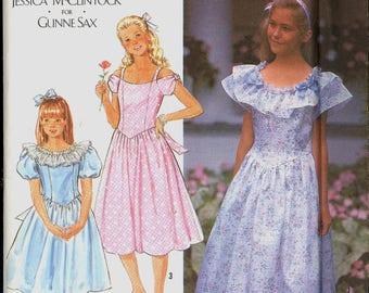 Uncut 90s Size 7 8 10 12 14 Jessica McClintock Gunne Sax Princess Seamed Dress Petticoat Simplicity 7121 Vintage Sewing Pattern 1990s
