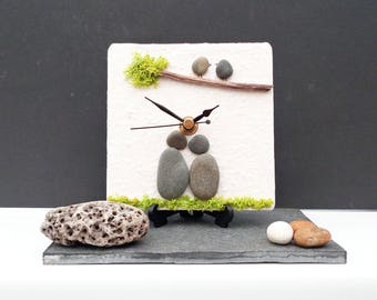 Pebble Desk Clock Small Wall Clock - Natural Stone Clock - Pebble People - Pebble Art Lovers Couple - 3D Mosaic Clock - Valentine's Day Gift