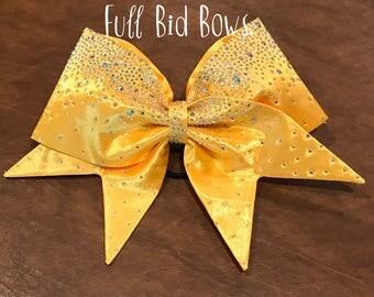 All Fabric Rhinestone Cheer Bow Yellow