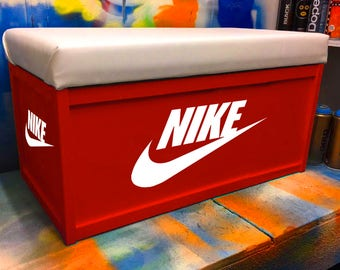 NIKE Box Custom Ottoman - Toy Box Storage Handprinted With Seat Personalised