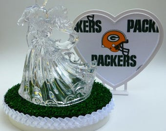 Wedding Cake Topper Green Bay Packers Football Themed Clear Couple Dancing First Dance Sports Fans w/ Garter Pretty Heart Green Turf Groom's