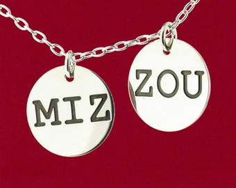 MIZ ZOU Your Choice or Both MIZZOU Engraved Pendant 925 Sterling Silver Jewelry - Charm Only