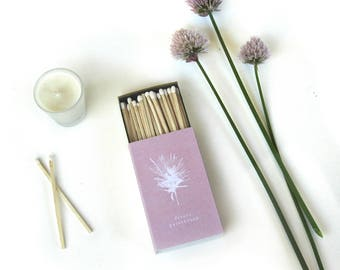 "Desert Paintbrush Large Matchbox. Blush Pink Botanical Matchbook. 4"" Long Candle Matches. Wildflower Decor. Plant Lover Gift. Floral Matches"
