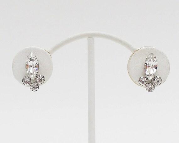 Vintage 50s Sherman Rhinestone Bridal Earrings