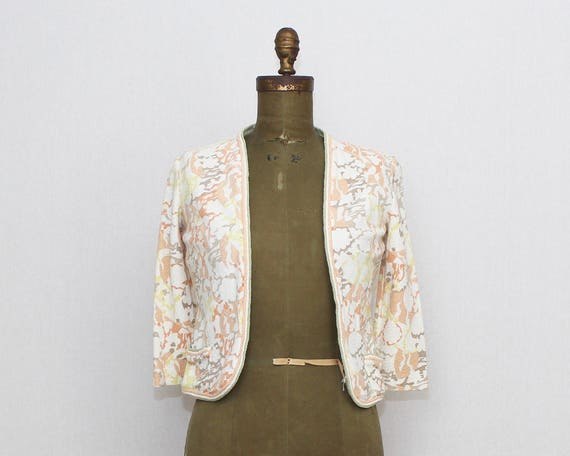 Vintage 1960s Abstract Floral Blazer - Size Small