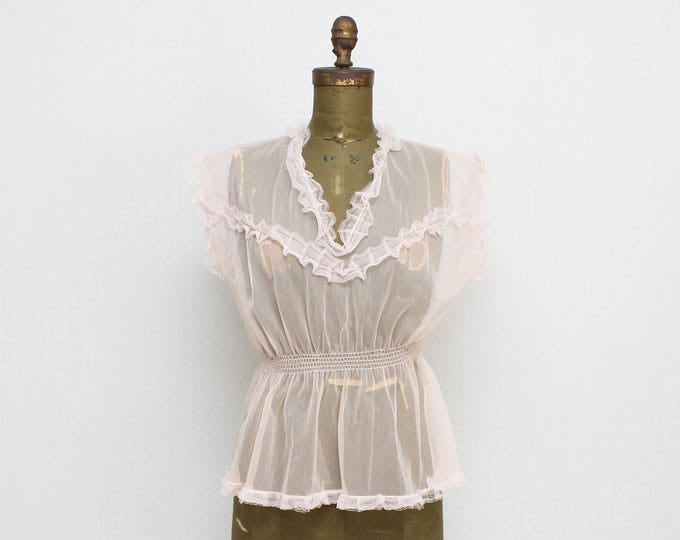 Vintage 1960s Sheer Pink Ruffle Babydoll Nightie  - Made in Germany