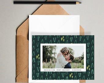 Boho Trees Holiday Card Printable // Hand Drawn, Photo Christmas Cards, Holiday Cards, Bohemian, Merry Christmas