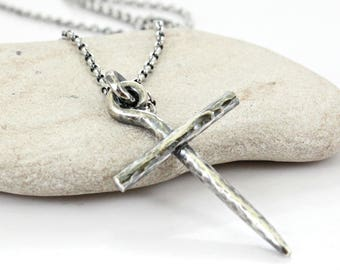 Sterling silver Christian Cross Necklace -Cord or Sterling Silver chain- Handmade Cross -Men's / Women's Cross pendant .