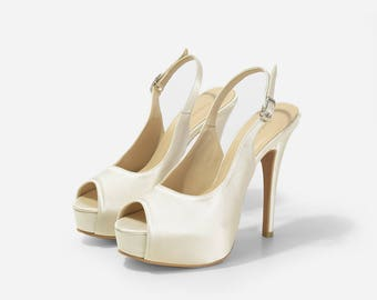 Taffeta Ivory Satin Custom Made Heels, Ivory Satin Sling Back Heels, Sling Back Platform Pumps, Ivory Satin Wedding Heels