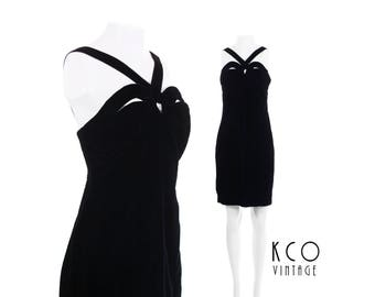 "90s Dress Black Velvet Dress Cutout Cage Mini Dress Goth Little Black Dress Vintage Dress 90s Clothing Women's Size SMALL / MEDIUM 33"" Bust"