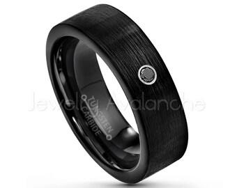 Pipe Cut Black Tungsten Ring, 0.07ct Black Diamond Ring, 7mm Black IP Tungsten Wedding Band, April Birthstone Ring, Comfort Fit Ring TN232BS