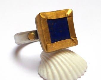 Lapis Lazuli Ring - silver ring - Gold ring - Statement gold ring - Engagement ring - 24 k gold ring - free shipping!!!