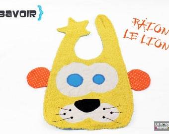 Bib Lion yellow terry fabrics and cotton practical closure