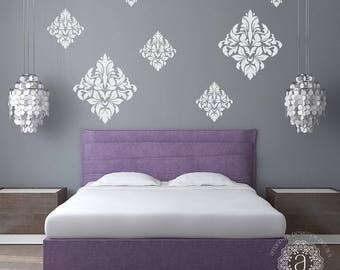 CLEARANCE SALE Bedroom Wall Decal, Bedroom Decor, Ornate Wall Decal, Damask Vinyl Decal, Bedroom Wall Decals, Wall Stickers, Vinyl Decals, W