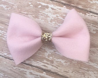 Bow Barrette| Pink Bow| Felt Bow| Glitter Bow| Kids Bows