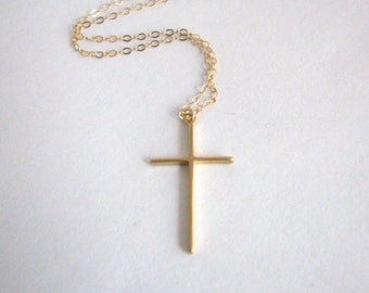 Thin Gold Cross Necklace, Simple Cross Necklace, Christian Cross, Dainty Cross Necklace, Mom Gift, Sister Gift, 14K Gold Filled Chain