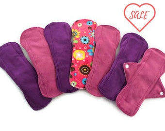 "SALE!!!7 Soft 9 1/2"" Minky Pads Set/Reusable Cloth Pads/ EcologicallyFriendly Cloth Pads,Cloth Mama Pads,Feminine Product,Soft Cloth Pads"