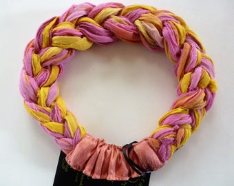 Wake up! To this lively mix of pink and golden yellow and coral sari silk chiffon! A Sari Silk Braided Headband to brighten cloudy days.