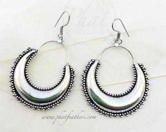 Chunky Brass Hoop Earrings, Brass Tribal Earrings, Geometric Earrings, Ethnic Earrings, Gypsy Earrings, Boho Earrings, Statement Earrings