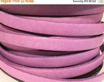 "Buy Now 8"" 10mm Flat Leather Cord Italian Dolce Vivid Lilac Purple Flat Leather Cord finding, jewelry supplies strap"
