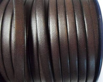 Buy Now 1 Meter Dark Brown 5mm Flat leather for flat leather bracelets,