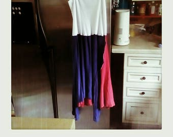Upcycled red white blue patriotic tank dress size large