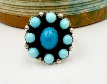 Vintage STERLING TURQUOISE RING Mexico Sterling Silver Turquoise Ring Sz 5.75