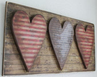 Patriotic heart primitive folk art flag sign plaque stars and stripes Made in USA July 4th rustic county