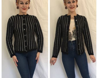 Vintage 1960's Black Stripe Orlon Cardigan