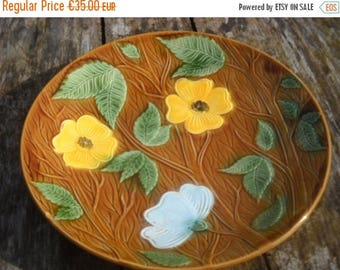 Summer Sale 15% Off Vintage French Majolica Sarreguemines Fully Marked Barbotine or Majolica Large Platter Plate Pre 1950's French Barbotine