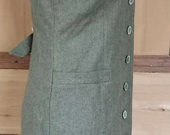 Vintage Green Wool 1970s Button Drint Dress 10/12