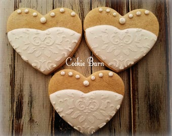 Wedding Gown Decorated Cookies, Bridal Shower Wedding Favors, Bridal Gown, Cookie Favors