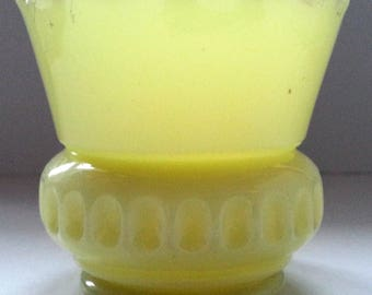 Heisey Custard Glass Toothpick Match Holder, EAPG Punty Band Pattern