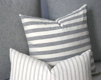 striped heather grey pillow cover 12x18 grey pillow 16x16 grey striped pillow 18x18 - Grey Throw Pillows