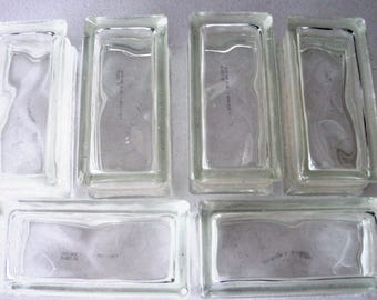 Vintage Reclaimed Architectural Wavy Glass Blocks