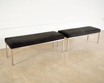 Mid Century Benches, Upholstered Benches, Mid Century Modern Black Suede Upholstered Benches, Vintage, Set of 2