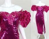 Vintage Sequin Dress Pink Ruffle Off Shoulder Long 80s Prom Gown Split Alyce Designs Size 4