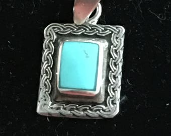 Sterling,Turquoise pendant and chain circa 1990s,Mexico
