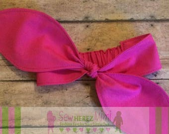HOT PINK Big Bow Headband PREEMIE, Newborn, 3-6 mo 6-9 mo 12-24 mo 2T-4T