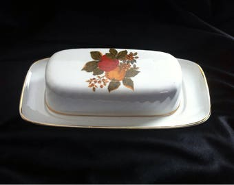 White Ceramic  Butter Dish with Lid  England Trade Mark English Harvest / Covered Butter Dish / Butter Dish Vintage  made in England
