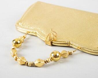 Vintage 1960s Purse | 60s Metallic Gold Faux Leather Vinyl Beaded Evening Handbag Clutch