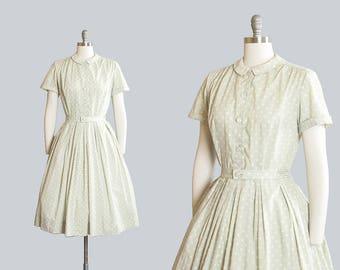 Vintage 1950s Dress | 50s Polka Dot Cotton Mint Green Full Skirt Peter Pan Collar Shirtwaist Day Dress (medium)
