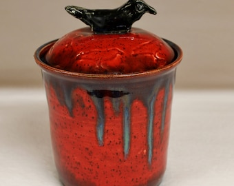 Large Elemental Red Fire Raven Jar with Lake County Diamond Crow Eyes