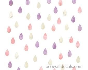 Raindrop Watercolor Wall Decals - Glitter Raindrop Fabric Wall Decals