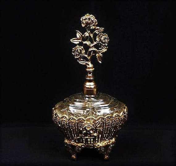 Ormolu Perfume Bottle / Hollywood Regency / Glass Dauber / Roses