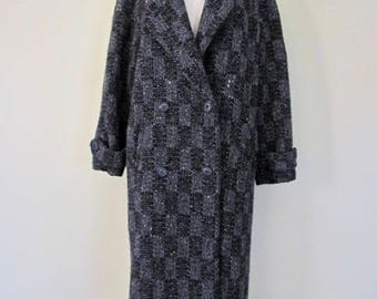 Fabulous Vintage Christian Dior Back & Gray Full Length Double Breasted Checkered Wool Tweed Coat Size M/L
