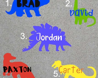 Iron on Dinosaur with Name | Iron On for Baby Onesie | Creeper | Bodysuit | Lunchbox | Backpack Personalized gift | Customized