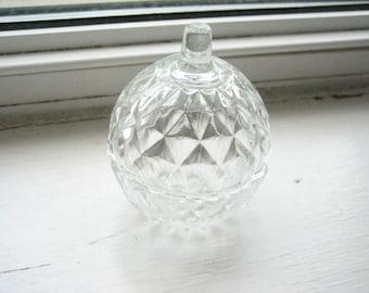 Vintage glass box, Italian glass box, molded glass, facetted glass, keepsake box, glass trinket box, clear glass box, domed glass box