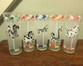 Libbey Carousel Merry Go Round Highball Glasses - Mid Century Barware - Rare Black and White - Set of 5